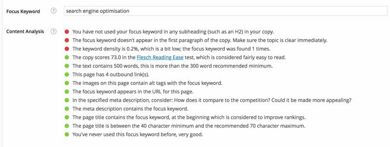 Yoast SEO content analysis for the phrase Search Engine Optimisation.