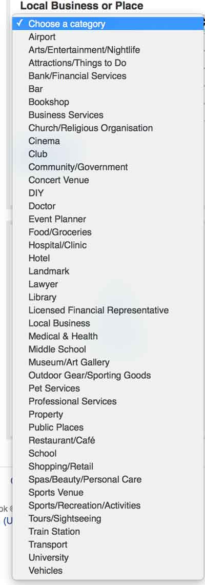Category list from local business or place