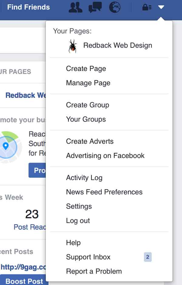 The list of options from the dropdown menu in Facebook including create page option