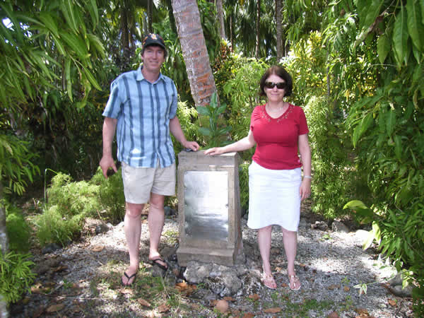 Jim and Gill standing next to Maclaey's Monument