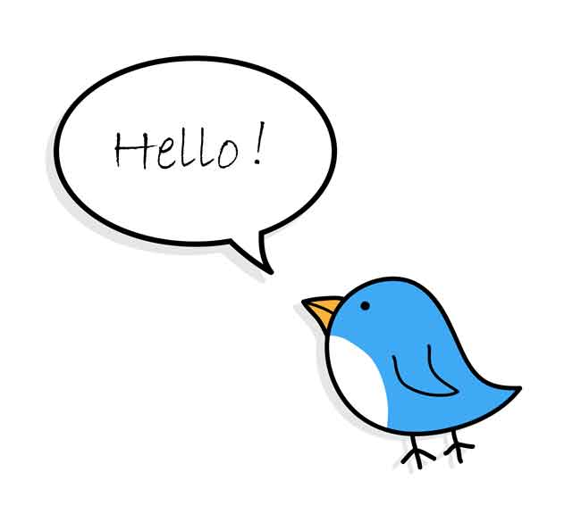 twitter bird with speech bubble saying Hello