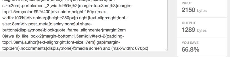 Example of minified CSS with a 65% reduction in file size.