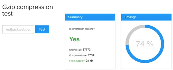 the gzip compression website indicates a 74% saving after using gzip
