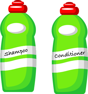 A green shampoo bottle and a green conditioner bottle