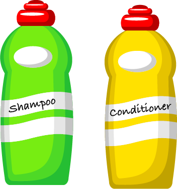 A green shampoo bottle and a yellow conditioner bottle
