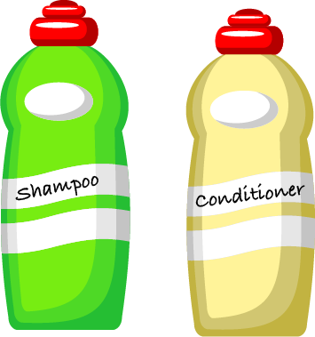 bright green shampoo bottle and a pale yellow conditioner bottle.