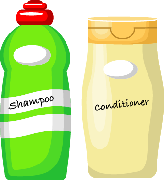 bright green Shampoo bottle and a pal yellow conditioner bottle with a flat lid.
