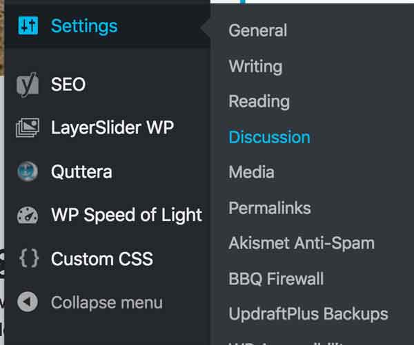 The Discussion tab is in the Settings menu fly-out.