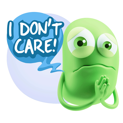 Greed emoticon with I don't care speech bubble