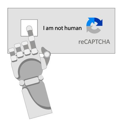Robot arm clicking on I am not human