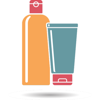 orange shampoo bottle with blue conditioner bottle